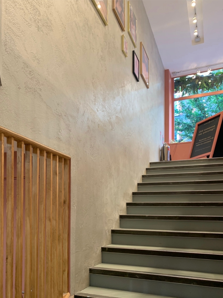 Microcement wall over modern staircase