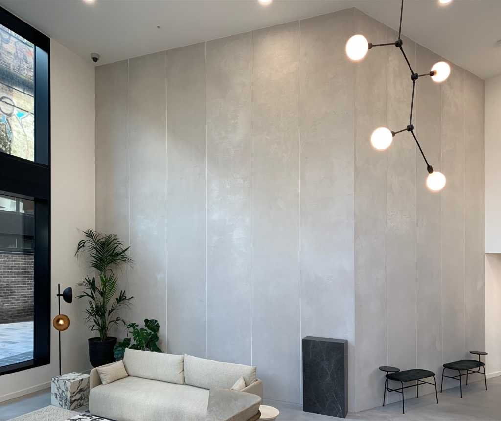 Microcement walls with seamless finish